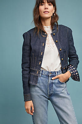 Slide View: 1: Pilcro Peplum Denim Jacket