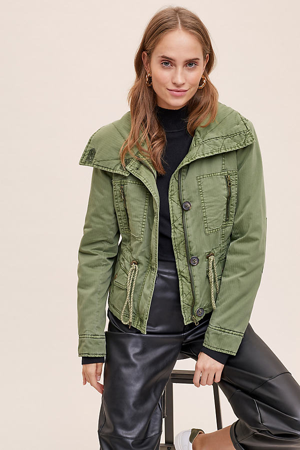 Remy Quilted-Utility Jacket - Green, Size S