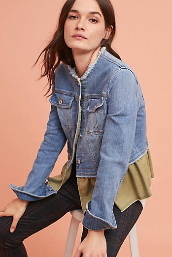 Pilcro Flounced Denim Jacket
