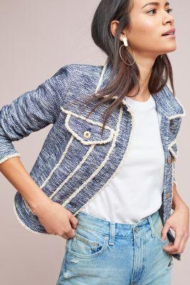 Pilcro and the Letterpress   Pilcro Tweed Trucker Jacket  -    BLUE