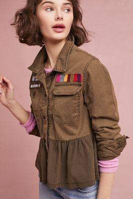Anthropologie   Peplum Military Jacket  -    GREEN