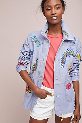 Slide View: 1: Embroidered Patch Jacket