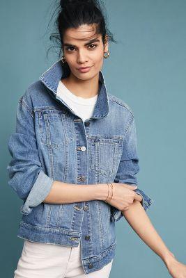 Pilcro and the Letterpress   Pilcro Amore Embroidered Denim Jacket  -    DENIM MEDIUM BLUE