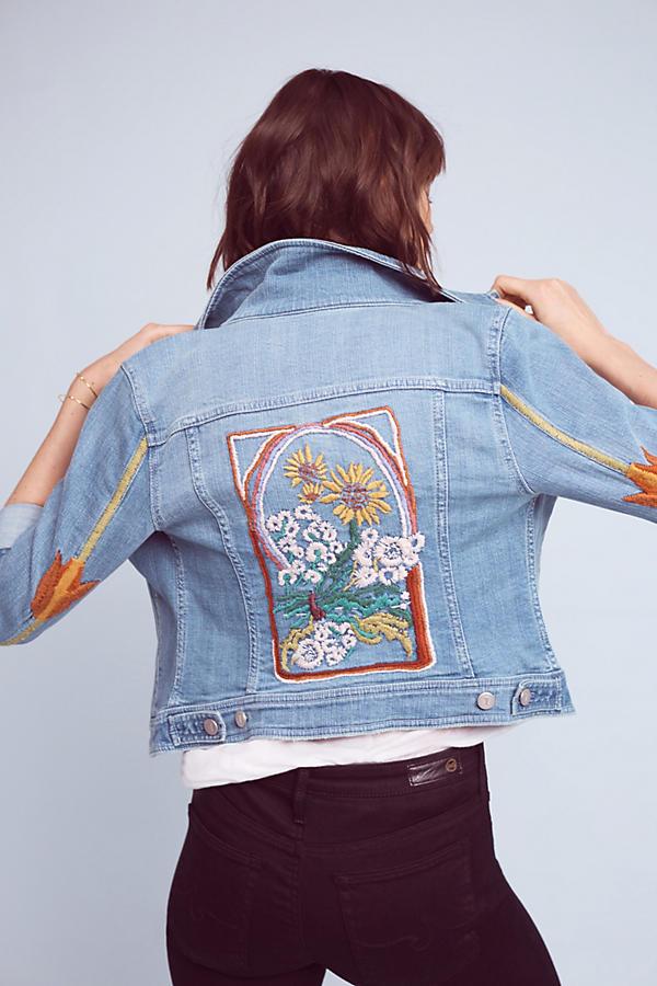 Slide View: 1: Pilcro Embroidered Denim Jacket