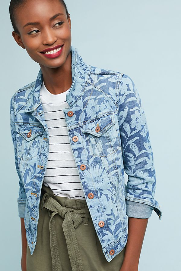 Slide View: 1: Pilcro Printed Classic Denim Jacket