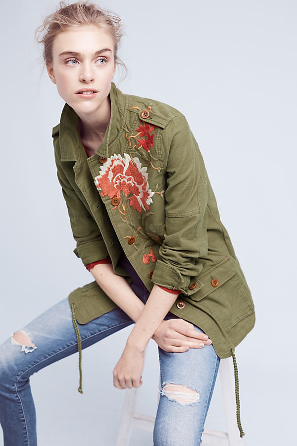 Embroidered Field Jacket - Moss, Size Xs