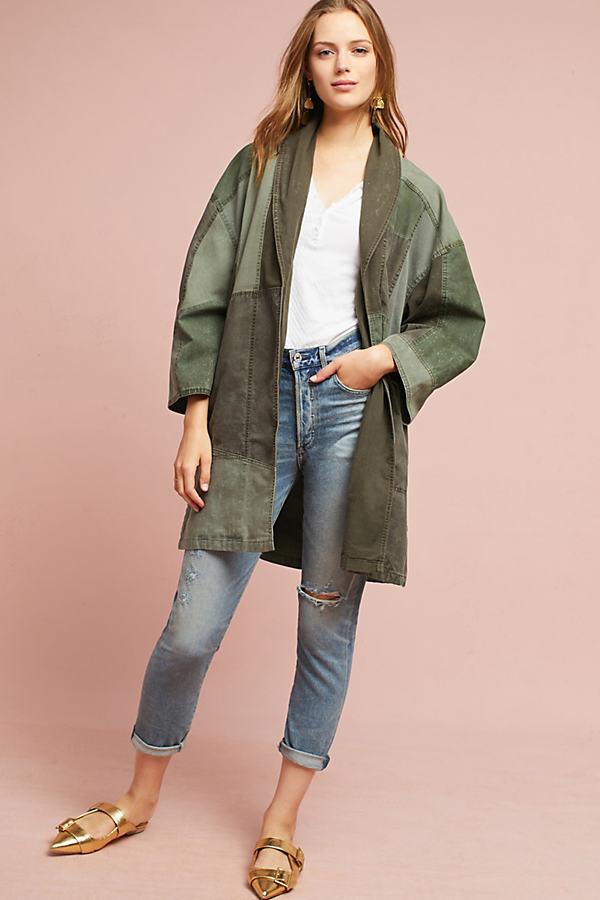 Utility Patchwork Kimono, Green - Green Motif, Size Xs/s