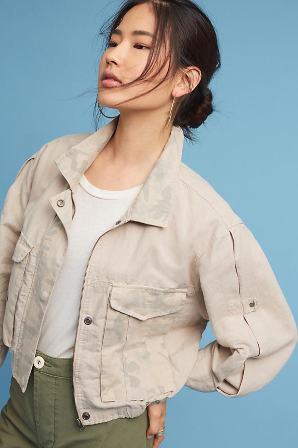 Ronan Camo Printed Jacket, Khaki - Taupe, Size L