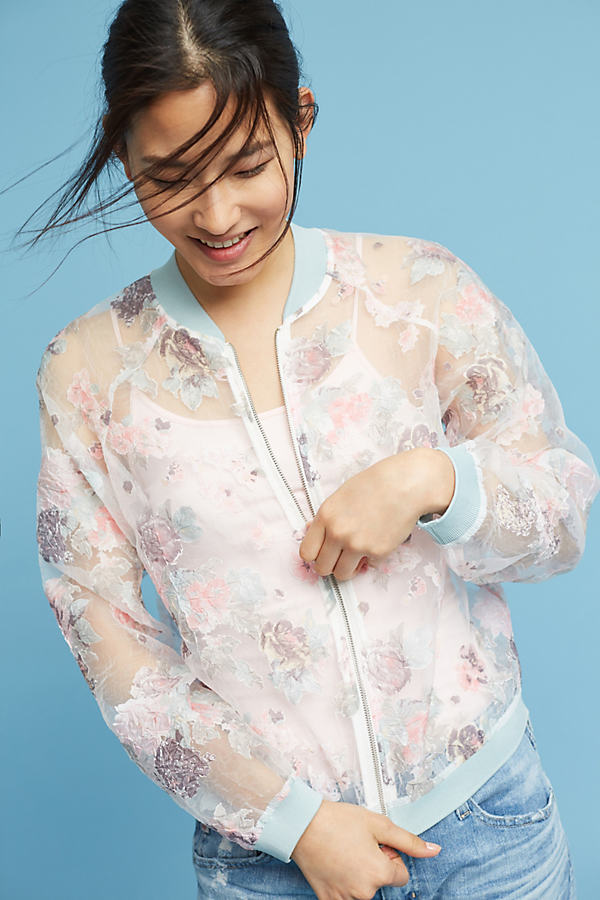 Zoey Sheer Bomber Jacket, Pink - Pink, Size Xl