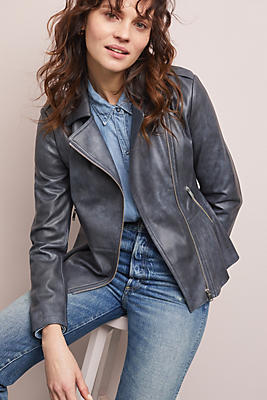 Slide View: 1: Peplum Faux Leather Moto Jacket