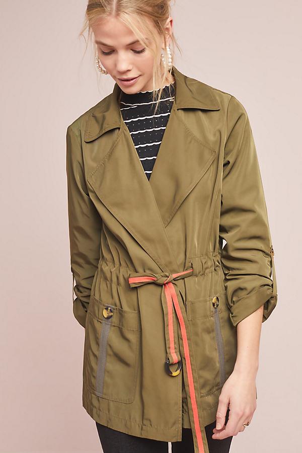 Obi Trench Jacket - Green, Size M