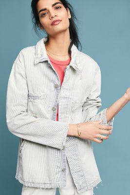 AMO   AMO Distressed Stripe Jacket  -    BLUE MOTIF
