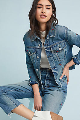 Slide View: 1: AMO Pop Cropped Denim Jacket
