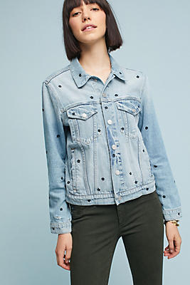 Slide View: 1: AMO Pop Floral Embroidered Denim Jacket