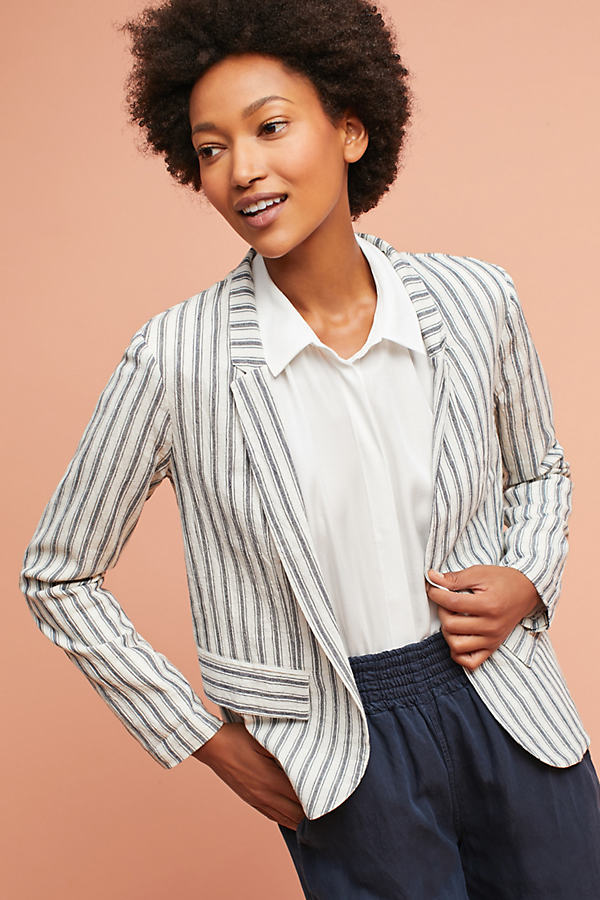 Kirsi Ecru Striped Blazer - Blue Motif, Size Xl