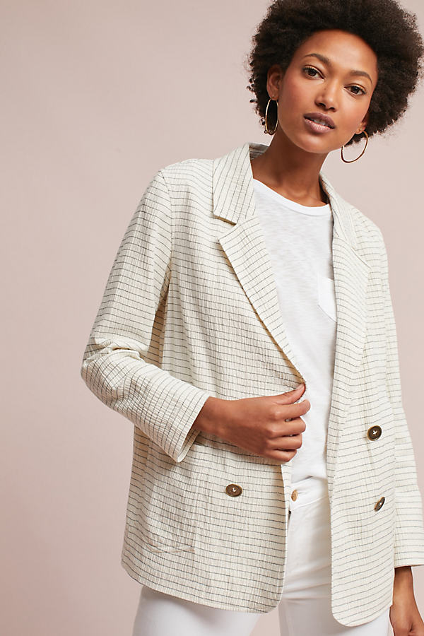 Cass Pinstriped Blazer - Neutral Motif, Size M