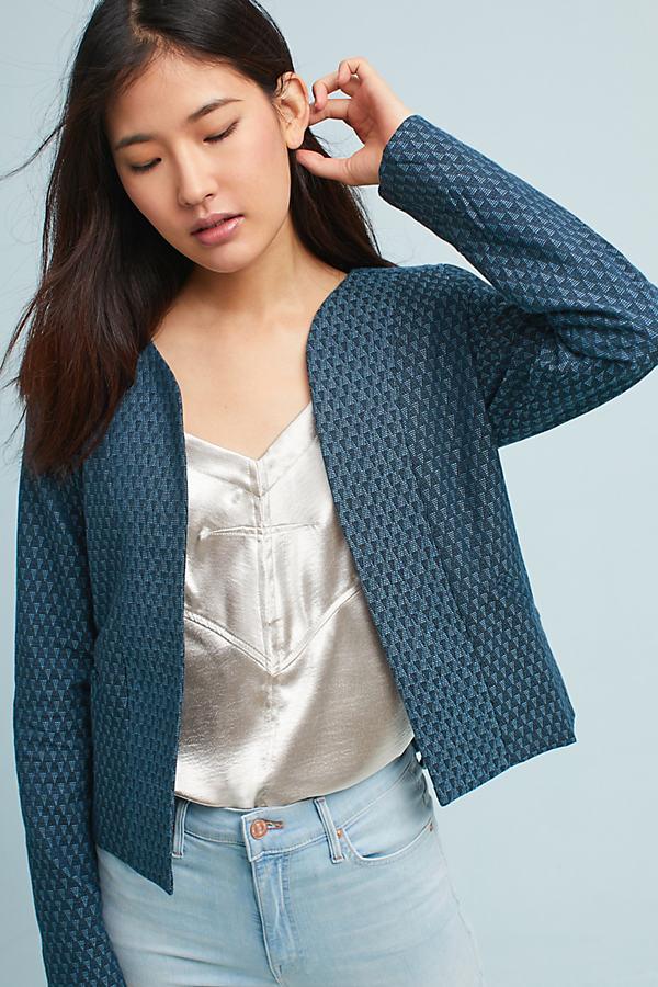 Tiana Jacquard Jacket, Blue - Blue, Size M