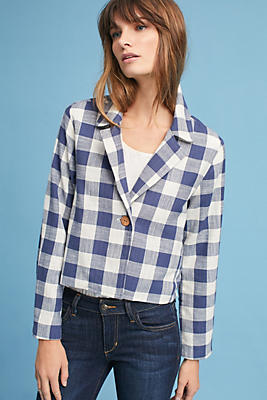 Slide View: 1: Collared Gingham Jacket