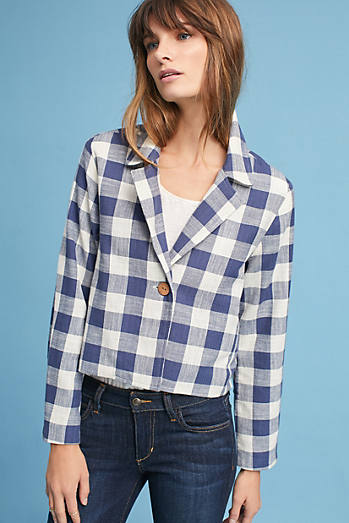 Collared Gingham Jacket