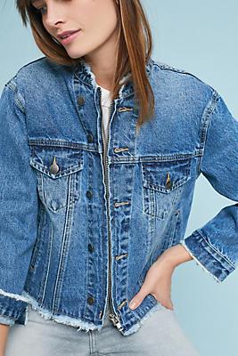 Slide View: 1: Frayed Denim Jacket