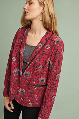 Slide View: 1: Piped Floral Blazer