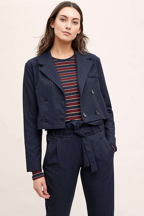 Merina Pinstriped Cropped Jacket - Black, Size M