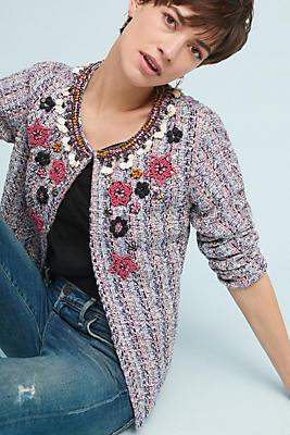 Slide View: 1: Suzy Embellished Tweed Jacket