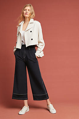Slide View: 1: Summer Tied-Sleeve Trench Jacket