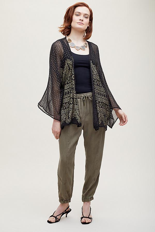 Solvi Foil Print Kimono - Black