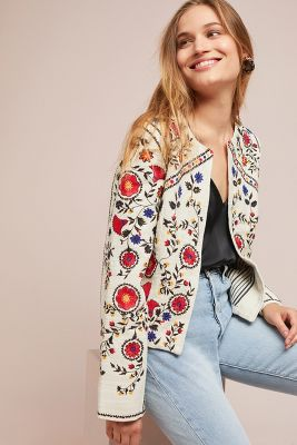 Kirian Embroidered Crop Jacket by Maeve
