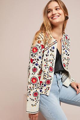 Slide View: 1: Kirian Embroidered Crop Jacket