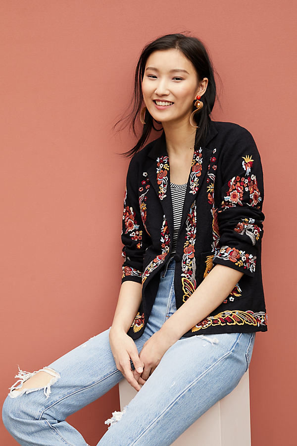 Ellissa Floral-Embroidered Blazer - Black, Size Uk 8
