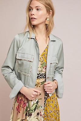 Slide View: 1: Piped Trucker Jacket