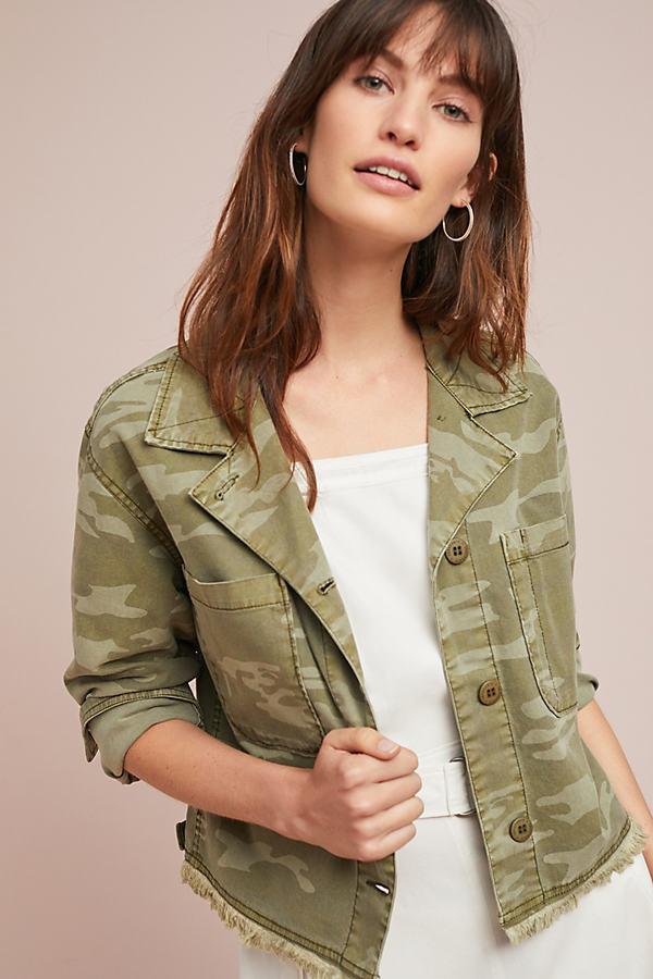 Cropped Camo Jacket - Green, Size Xl