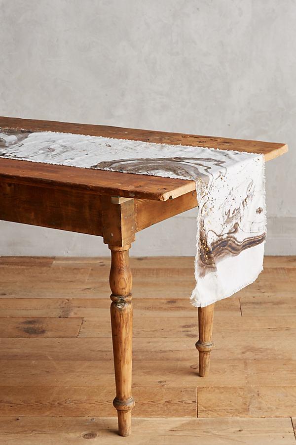 Marbled Table Runner - Grey, Size Runner