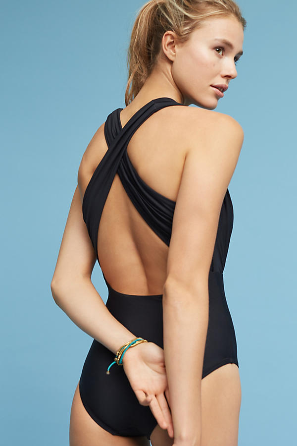 Slide View: 3: Zinnia Plunge One-Piece Swimsuit