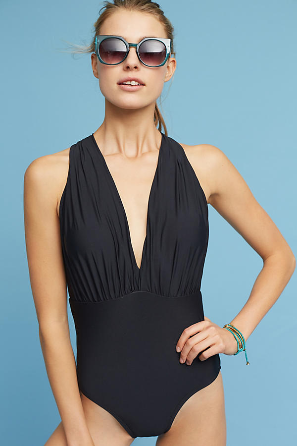 Slide View: 1: Zinnia Plunge One-Piece Swimsuit