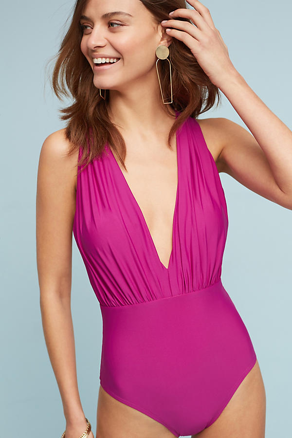 Slide View: 1: Zinnia Plunge One-Piece