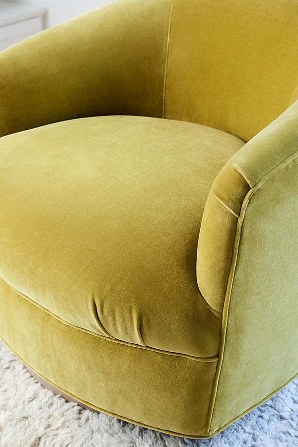 Slide View: 3: Velvet Amoret Swivel Chair