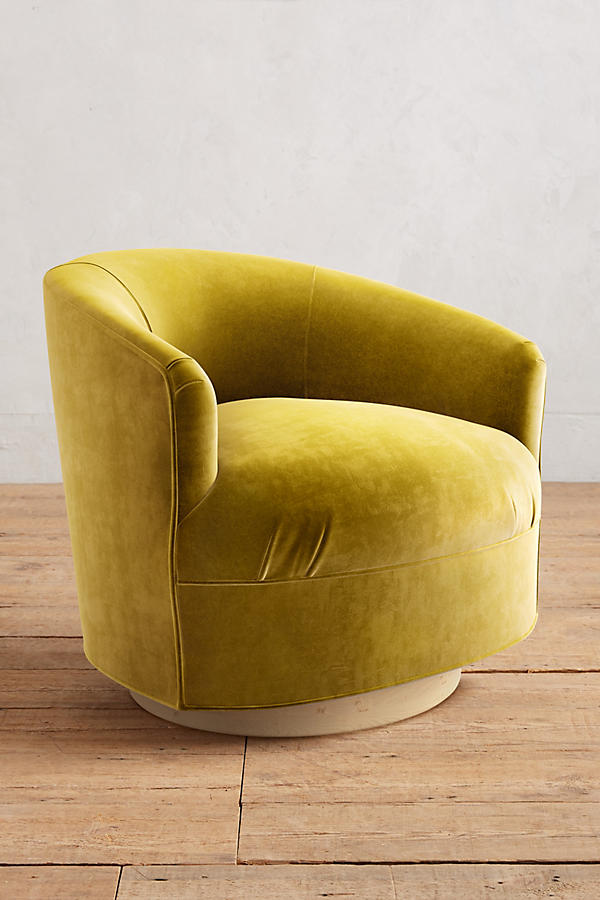 Slide View: 1: Velvet Amoret Swivel Chair