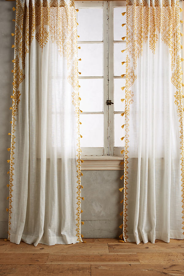 Adalet Curtain - Dark Yellow, Size 50 X 108