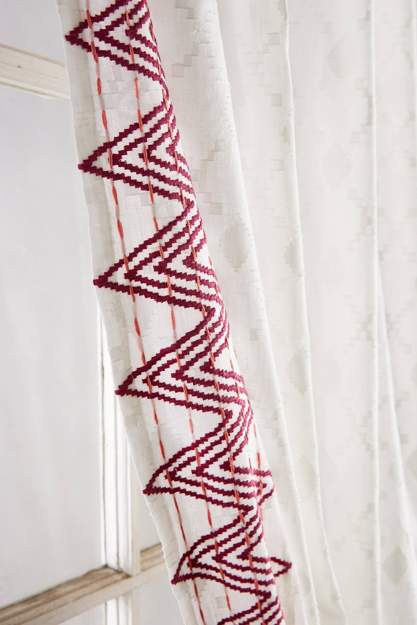 Slide View: 2: Chevron-Trimmed Curtain