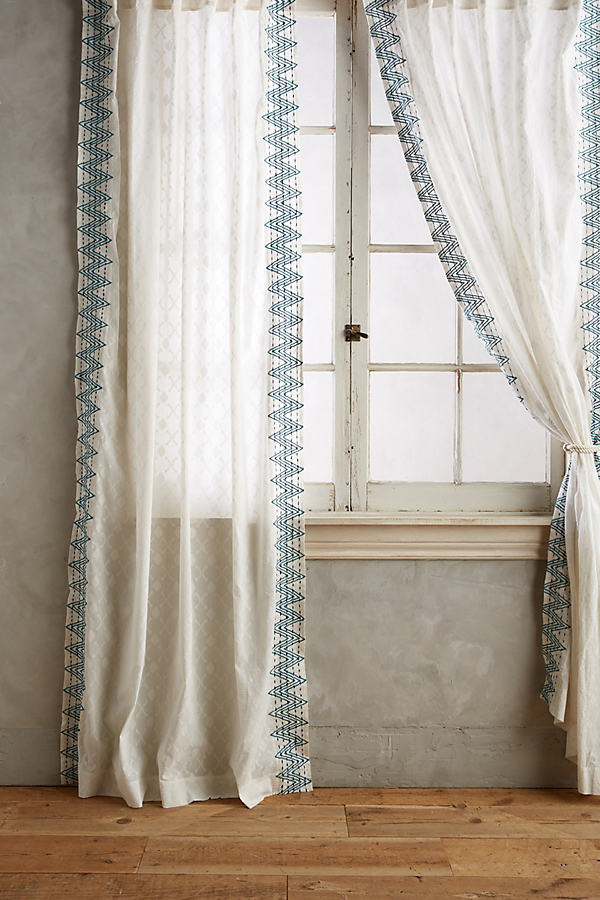 Chevron-Trimmed Curtain - Wedgewood Blue, Size 50 X 84