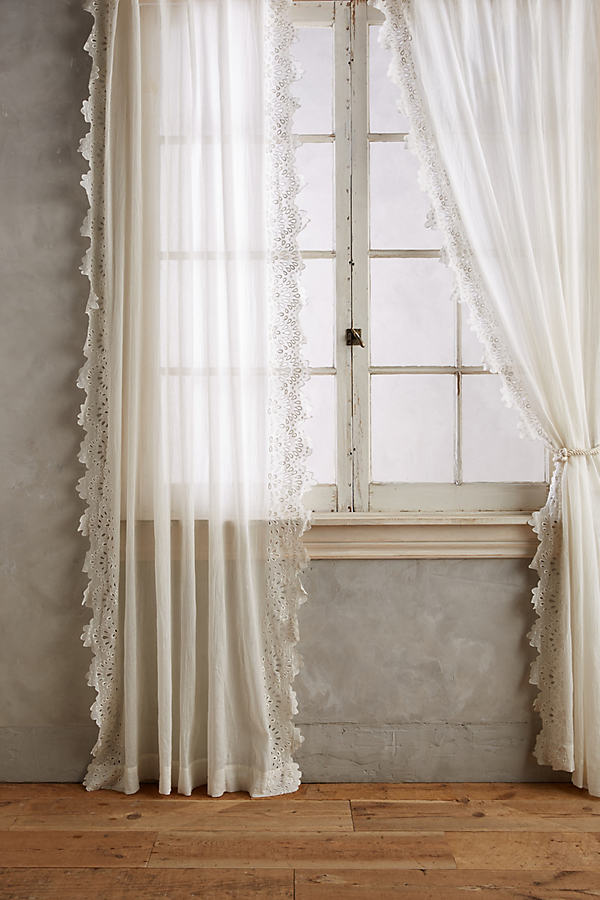 Eyelet-Trimmed Curtain - White, Size 50 X 84