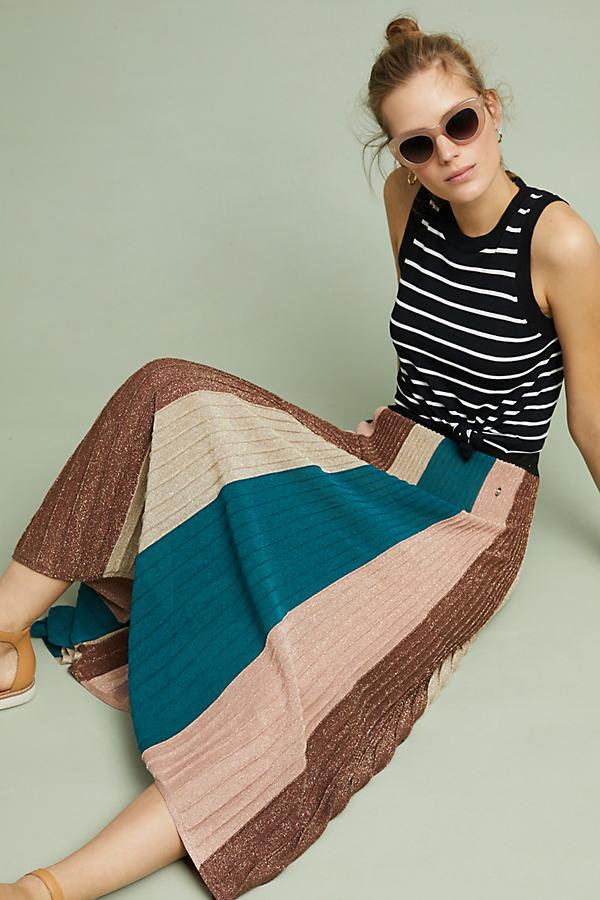 Metallic Striped Maxi Knit Skirt - Green, Size Xs