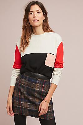 Slide View: 1: Leather + Plaid Mini Skirt
