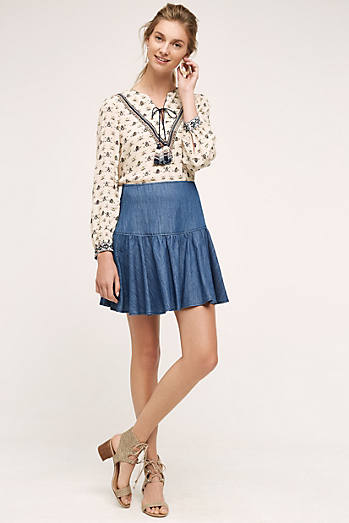 Tiered Denim Mini Skirt