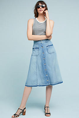 Button Front Denim Midi Skirt | Anthropologie