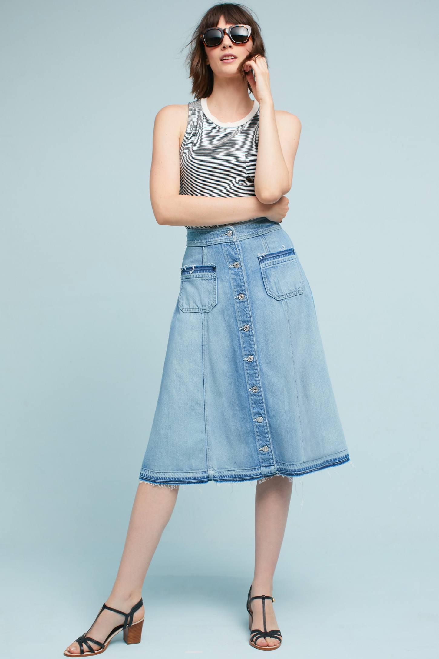 Button Front Denim Midi Skirt | Anthropologie