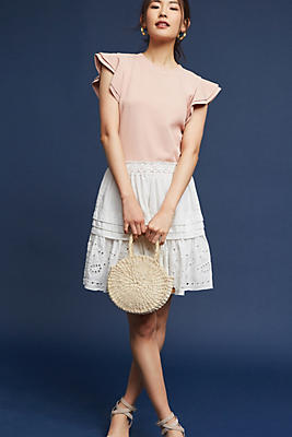 Slide View: 3: Eyelet Lace Mini Skirt
